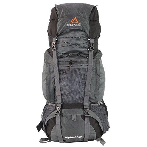 Scout Youth External Frame Pack - Mission Peak Gear Alpine 3600 60L Internal Frame Hiking Backpack (Gray)