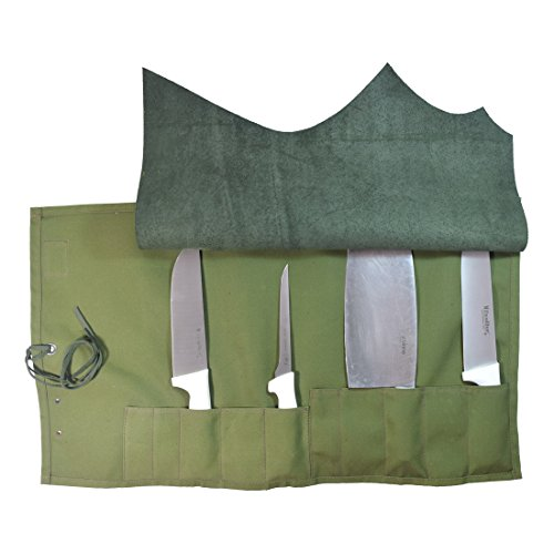 Water Resistant Canvas All Purpose Knife Roll (10 pockets) Handmade by Hide  Drink