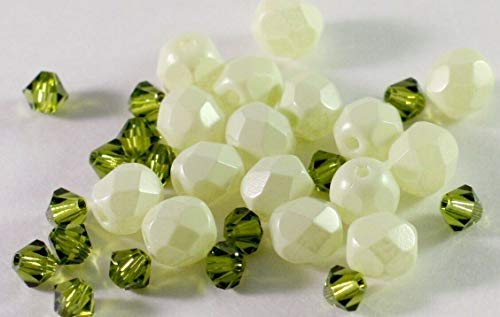 32 Light Olive Czech Firepolish Glass 6Mm Bead Mix with 3Mm Crystals