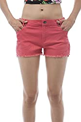 Cotton Twill mini short shorts with lace patch on the sides (Small, Coral)