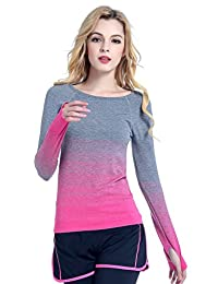 Leefi Women Long Sleeve Workout Tee Athletic Compression Gym Sport Shirt Top