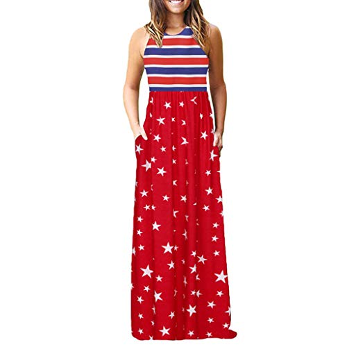 Caopixx Womens Dress, Sleeveless with Pocket Boho Dress Lady Beach Summer Sundrss Maxi Dress (3XL, Red #1)