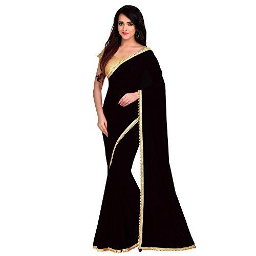 Viva N Diva Saree for Women's Black Color Georgette Saree
