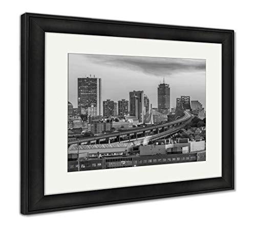 Ashley Framed Prints Boston, Massachusetts, USA, Wall Art Home Decoration, Black/White, 34x40 (Frame Size), Black Frame, AG32663216