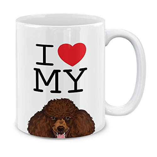 MUGBREW I Love My Brown Standard Poodle Ceramic Coffee Gift Mug Tea Cup, 11 OZ