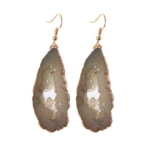 (Kofun Earrings, Gold Plated Irregular Natural Druzy Slice Fish Hook Drop Dangle Earrings Women)