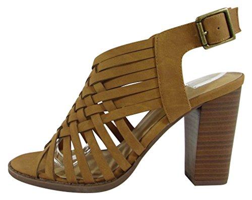 Cambridge Select Womens Open Toe Crisscross Lattice Strappy Chunky Block Heel Sandal Tan Nbpu OWJ78qOiIf