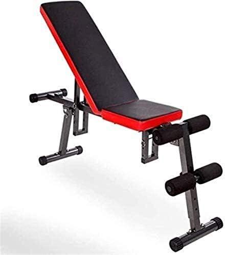 家庭用ダンベルベンチ 黒のダンベル付きの調整可能なトレーニングベンチ 赤いPUレザーフィットネス運動