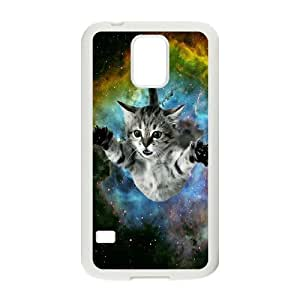 JFLIFE Space Cat Flying Phone Case for samsung galaxy s5 White Shell Phone [Pattern-1]