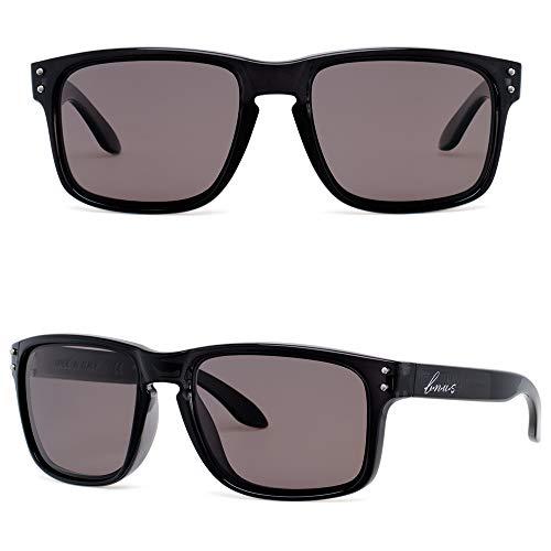 BNUS Men's Sports Style Polarized Sunglasses Driving Fishing Golf Glasses Unbreakable Frame (Black/Polarized TrueColor Light Brown(56mm), Polarized TrueColor Light Brown) - Frame Sunglasses Style