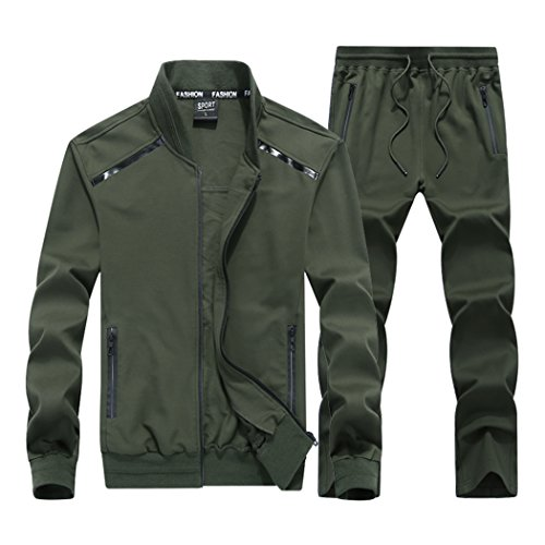 Sun Lorence Men's All-Round Champion Leisure Sports Sweat Suit Full Zip Tracksuit Set ArmyGreen XL