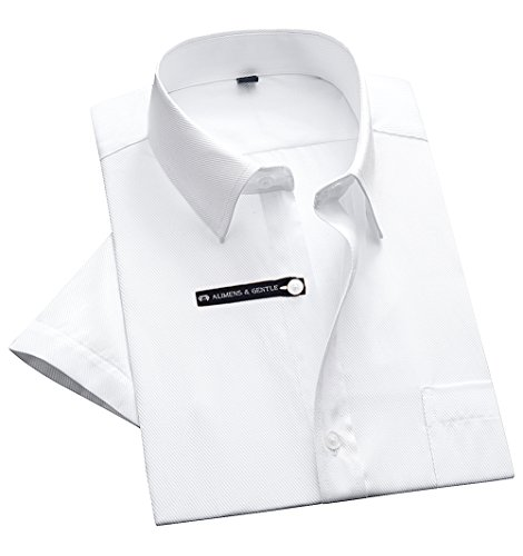 Alimens & Gentle Twilled Texture Bussiness Men's Dress Shirt Short Sleeve Regular Fit - Color White, Size: X-Large - 17'' Neck by Alimens & Gentle