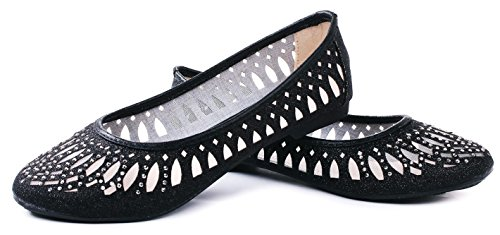 Rhinestone Flat Mesh Loafer Shoes Black Cut Shimmer Ballet Glitter Karra Out PqC1wxt