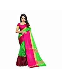 Indian Handicrfats Export Solid Fashion Silk Cotton Blend Saree (Green, Pink, Gold)