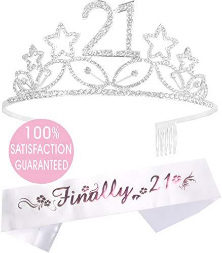 21st Birthday Tiara and Sash| Happy 21st Birthday Party Supplies| Finally 21 Glitter Satin Sash and Crystal Tiara Birthday Crown | 21st Birthday Party Decoration Kit (Silver Star)