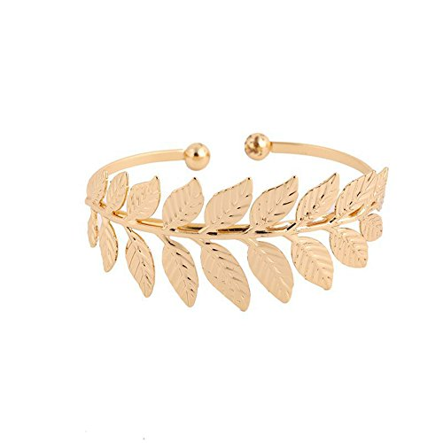 CHUYUN Silver Cuff Bracelets Leaves Bangle Gold Bracelet Armband Bangle for Women (Gold)
