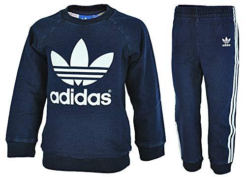Les Bleu Adidas Crewset blanc Denim Profond Tuta qzdRTnd