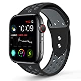 RUOQINI Compatible Apple Watch 44MM, Dual-Color Soft Silicone Sport Replacement Band Compatible Apple Watch Series 4 (S/M Size in Black/Gray Color)
