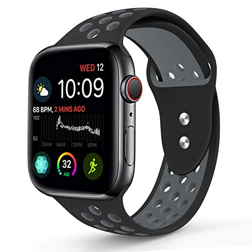 RUOQINI Compatible for Apple Watch 40MM, Dual-Color Soft Silicone Sport Replacement Band Compatible for Apple Watch Series 4 (S/M Size in Black/Gray Color)