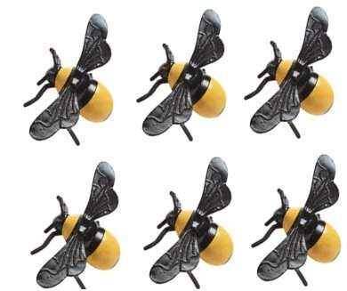 Bumblee Bee Baby Shower Boy or Girl Gender Reveal Party Supplies Collection (6 Plastic Bees For Cakes)