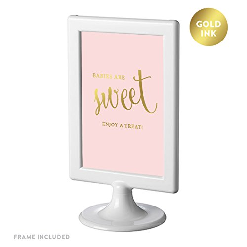 (Andaz Press Framed Baby Shower Party Signs, Blush Pink with Metallic Gold Ink, 4x6-inch, Babies Are Sweet, Enjoy a Treat Sign, Double-Sided, 1-Pack, Dessert Table Candy Buffet)