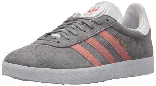 adidas Originals Women's Gazelle W Sneaker, Grey/Raw Pink/White, 5 M US