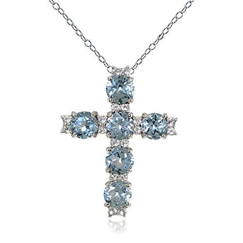 - LOVVE Sterling Silver Blue Topaz and White Topaz Cross Necklace