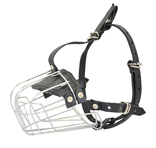 Dogline Metal Wire Basket Dog Muzzle for Great Dane and Similar Breeds L 4.25-in x C 18.5-in (Size GD) (Best Dog Muzzle For Long Term Use)