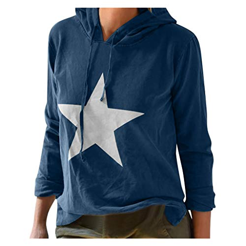 Loosebee◕‿◕ Autumn Women's Loose Fashion Large Size Casual Star Print Long-Sleeved Hooded Sweater Blue (Armani Oxford Women)