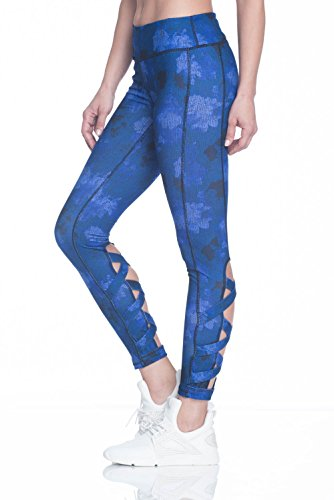 - Gaiam Women's Om Yoga Full Length Legging with Open Crisscoss Detail Below Knee - Clemantis Blue, X-Large