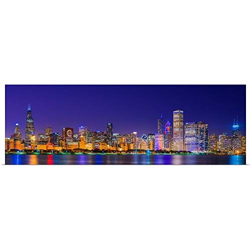 GREATBIGCANVAS Poster Print Entitled Chicago Skyline with Cubs World Series Lights Night by 60