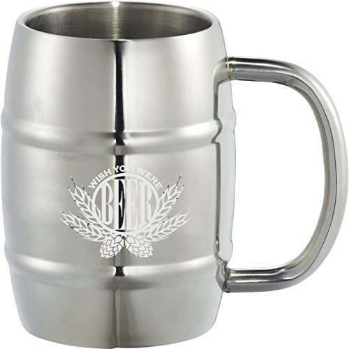 Best Insulated Stainless Steel Barrel Beer & Coffee Mug by Lazer Designs - Double Wall Thermal Mug - For Hot And Cold Drinks & Beverages - Perfect Gift for Men & Women - Wish You Were Beer