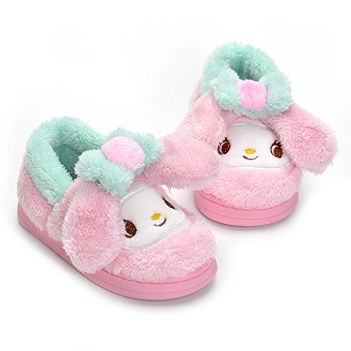 Indoor Plush Slippers for Toddler Little Girls Pink Cute Bunny Warm Shoes with Fur