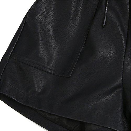 Nero Donna Moda in taglie Pantaloni pelle Elastico forti Mini Vita Pantaloncini Oudan wOdqPAP
