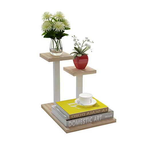 TJDR Flower Stand, Office, Mini, Desktop Wrought Iron Flower Stand, Multi-Layer, Storage Storage Rack, Succulent Trapezoidal Pot Rack, (Light Walnut Board / 24cm 30cm) (Color : Wood-Based Panel)