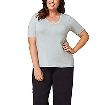 Seek No Further by Fruit of the Loom Women's Plus Size V Neck T Shirt at  Women's Clothing store