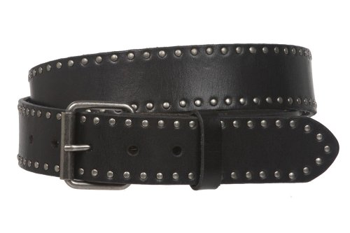 Genuine Vintage Retro Circle Studded Leather Belt - Interchangeable buckle, Black | 32