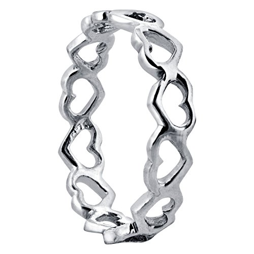 925 Sterling Silver Tiny Open Hearts Eternity 5mm Band Size 6 (Open Ring 5mm)