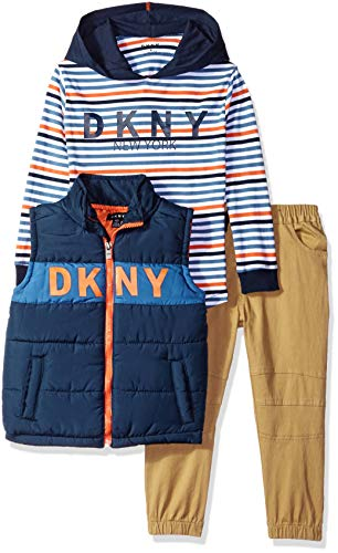 DKNY Boys South Avenue Vest, Hoodie and Twill Pull-on Jogger Pant