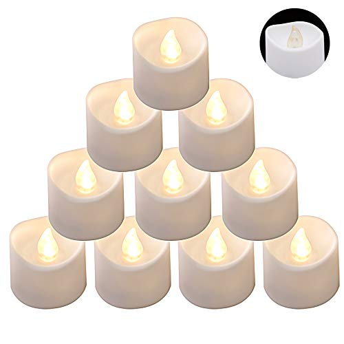 DRomance LED Flamelss Votive Tealight Candles Battery Operated with 6 Hour Timer, Set of 12 Plastic Warm Light Flickering Outdoor Candles Christmas Home Decoration(White, 1.4