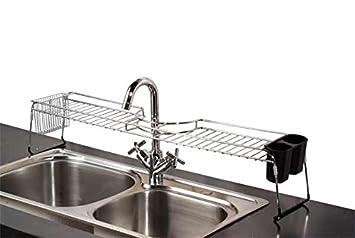 Kitchen Sink Rack Amazon home basics over the sink chrome shelf home kitchen workwithnaturefo