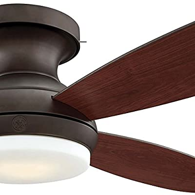 "GE Pierson 52"" Bronze LED Indoor Ceiling Fan with SkyPlug Technology for Instant Plug and Play Mounting"