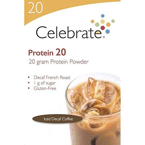 Celebrate Vitamins - Protein 20g - Whey Isolate Protein Powder - Iced Decaf Coffee - 15 Packets/Box