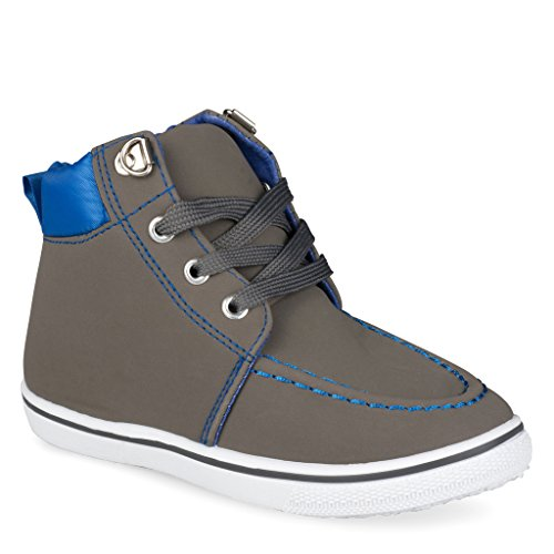 [C9104-GRY-5] Boys High Top Sneakers: Workboot Style Tennis Shoes, Moc Toe, Size 5