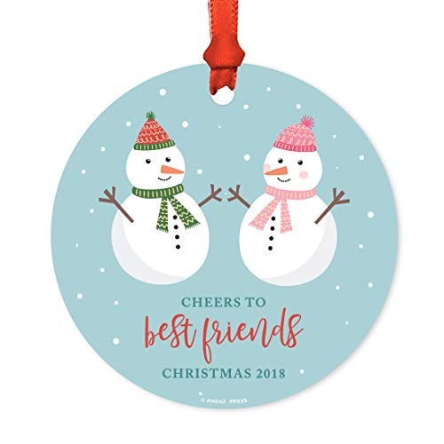 Andaz Press Family Metal Christmas Ornament, Cheers to Best Friends Christmas 2019, Holiday Snowman Family, 1-Pack, Includes Ribbon and Gift ()
