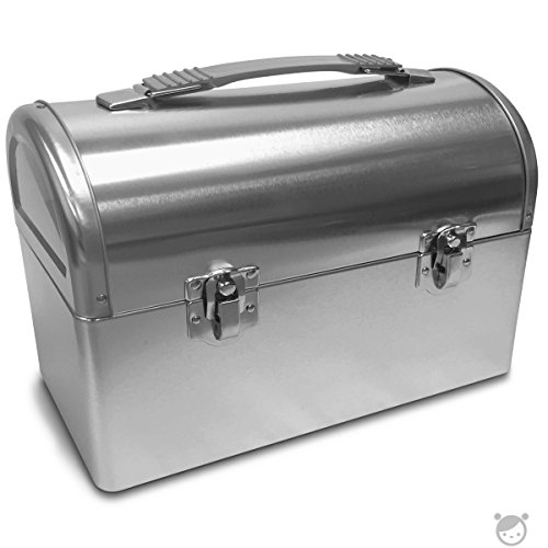 Custom Metal Lunch Boxes - Plain Metal Dome Lunch Box - Silver