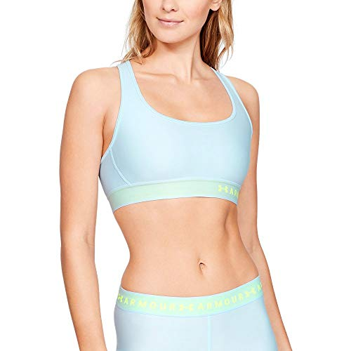 Under Armour Women's Armour Mid Crossback Sports Bra, Coded Blue (451)/High-Vis Yellow, X-Large