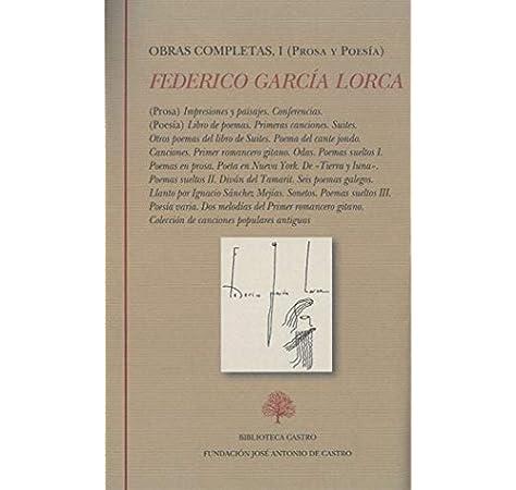 Obras completas I: Prosa y Poesía: Federico García Lorca I. Prosa y poesía: 1 Biblioteca Castro: Amazon.es: García Lorca, Federico, Soria Olmedo, Andrés: Libros