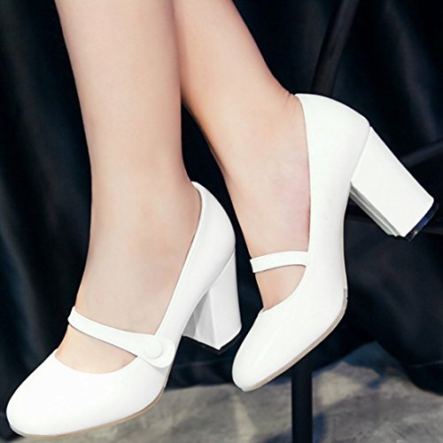 YE Women's Ladies Block High Heel Pumps Court Shoes Strap Smart Work Classic Mary Jane Shoes Size White 1OUEifWJzW