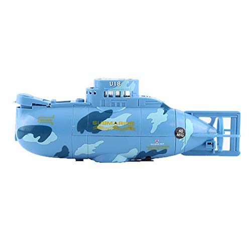 Dilwe Submarine Toy, Rechargeable Remote Control Boat Mini Bath Toy with USB Cable for Kids Gift Toddlers Babies (Blue)